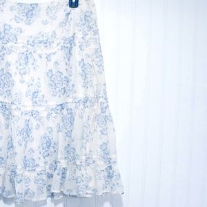 CHAPS floral A-line skirt size 4 Tiered Ruffled